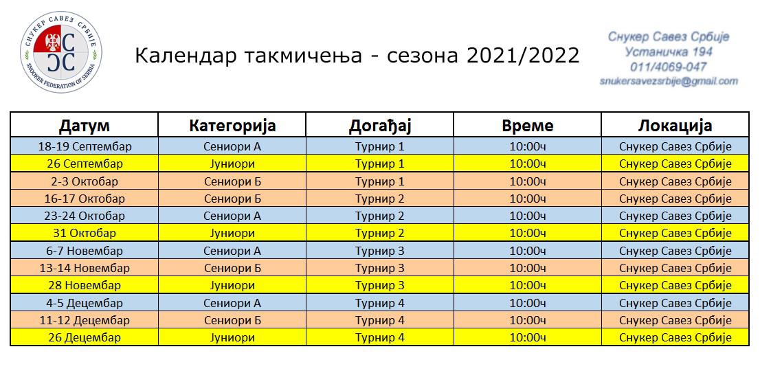 Календар такмичења 2021